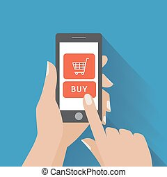 Hand holing smart phone with buy button on the screen....