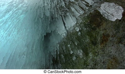 Icicle - Ice cave. Icicle close up