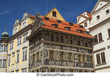 The famous House at the Minute (Prague, Czech Republic) - In...
