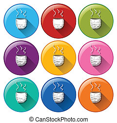 Round icons with coffee - Illustration of the round icons...