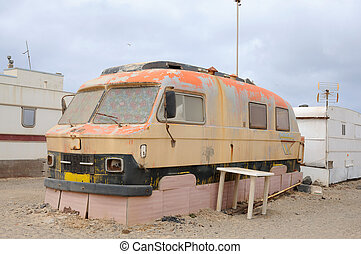 Old camper in a trailer park Fuerteventura, Canary Islands...