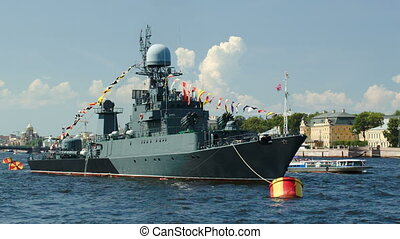 Military ship on Neva river, St Petersburg - Military ship...