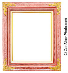 antique gold frame isolated on white background