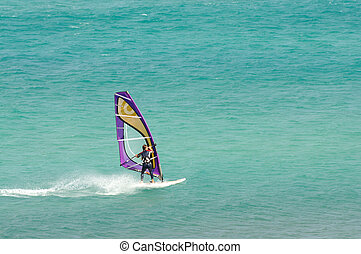 Sailboarding on Canary Island Fuerteventura, Spain