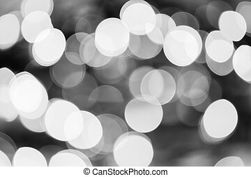 Christmas Lights Black and White Bokeh - A black and white...