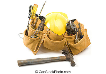 suede leather tool belt with protective hard hat - a suede...