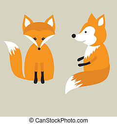 Vector retro card with two cute foxes in love. Fox couple....