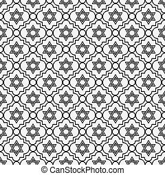 Black and White Star of David Repeat Pattern Background that...