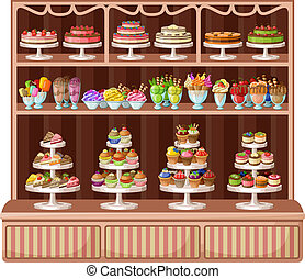 Store of sweets and bakery. vector illustration - Image of a...