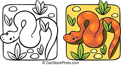 Little snake coloring book. - Coloring picture or coloring...