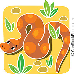 Children vector illustration of snake - Children vector...