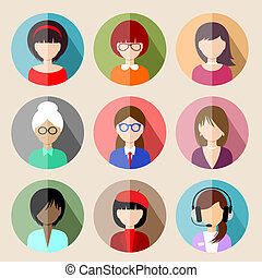 Set of circle flat icons with women. vector illustration