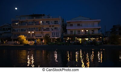 Night life on summer resort - Summer resort by the sea at...