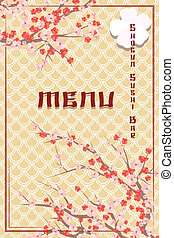 Cover of Asian Themed Sushi Bar Menu with Cherry Blossoms...