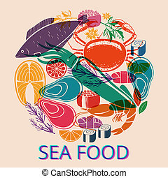 Seafood Graphic with Various Fish and Shellfish - Circular...