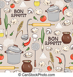 Bon Appetit seamless background pattern with scattered...