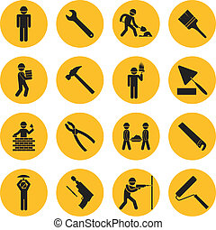 Yellow Circle Construction and Building Icons with Various...