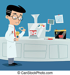Brainstorming concept - Scientist near ideas machine. Vector...