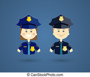 Professions - Police officers - Colored cartoon vector...