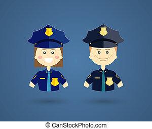 profissões, -, polícia, oficiais