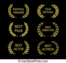Film Awards - Vector Film Awards, gold award wreaths on...