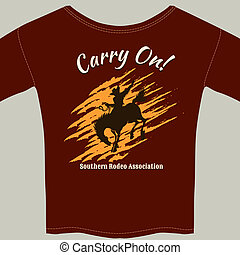 Tee Shirt with Cowboy Riding Horse Rodeo Graphic - Red Tee...