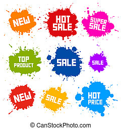 Business Colorful Vector Icons - Sale Blots - Splashes...