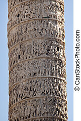 Marcus Aurelius Column Close Up Piazza Colonna Rome Italy