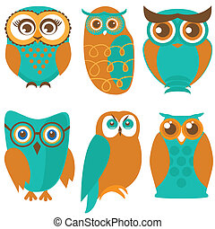 Owl set, cute owls and birds in orange , green colors