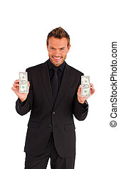 Successful businessman holding money - Successful young...