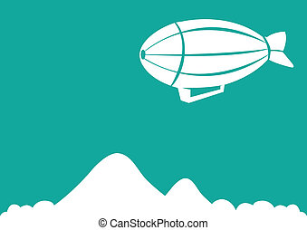 Illustration of Air Ship Against Green Background - Vector...