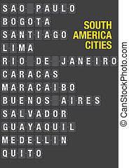 Name of South American Cities on Airport Flip Board - Name...