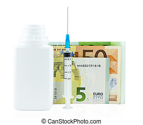 medication bottle ,syringe and euro money