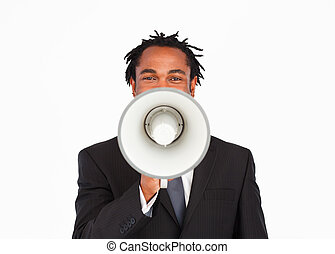 Business announcement through megaphone - Afro-american...