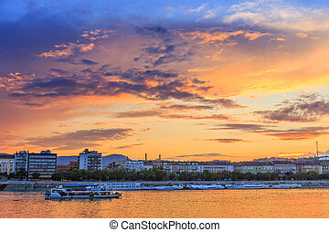 Panorama of Budapest at sunset, Hungary