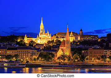 Night View with Matthias Church in Budapest, Hungary