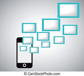 Flat design vector mobil - Flat design vector social media...