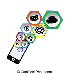 icons social mobil - Flat design vector social media...
