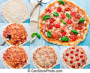 Pizza with cherry tomatoes and basil. Step by step -...