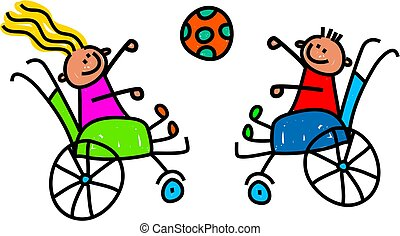 Disabled Kids Playing Ball - Whimsical doodle style...