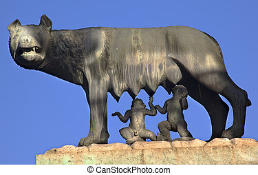 Capitoline Wolf Romulus Remus Statue Forum Rome Italy...