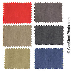 set of fabric swatch samples texture isolated on white...