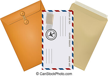 Set konfertov mail with stamps isolated on white background. Vec
