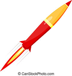 Combat red rocket in motion isolated on white background. Vector