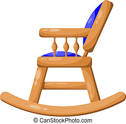 Blue wooden rocking chair isolated on white background. Vector i