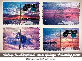 Set of 4 Stunning Vintage Postcard with old style look and...