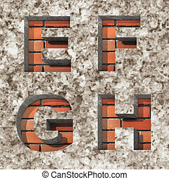 Vector brick alphabet letters set