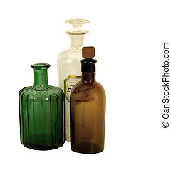 ANTIQUE APOTHECARY BOTTLES - old apothecary bottles on a...
