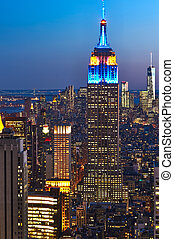 Cityscape view of Manhattan with Empire State Building at...