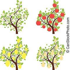 Stylized Fruit Trees - Set of cartoon stylized apple, lemon...